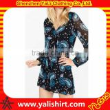 Wholesale oem comfortable soft sexy v-neck polyester long sleeve full graphic chiffon ladies jumpsuit