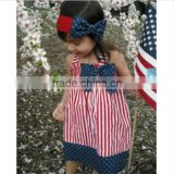 Crazy girls summer 4th of July dress wholesale baby girls ruffle spring halter toddler boutique stripe 100cotton summer dress