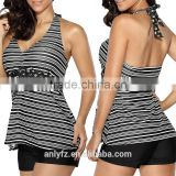 Plus Size Women Swimwear Wholesale Striped V Neck Halter Top and Black Shorts Tankini Swimsuit Set