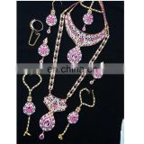 Semi Precious Indian Jewelary Gold Plated Pink Stone Zerconic Bridal Rani Haar Earring Tikka