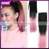 cheap synthetic two tone pink and black hair band ponytails                                                                         Quality Choice