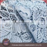 Custom promotion Soft light blue guipure fabric chemical water soluble lace for evening dress