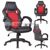 Race Car seat Style Bucket Seat High Back Red Leather Executive Chair Swivel Office Desk Chair