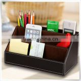 Home Offfice Leather Multi-function Desk Stationery black faux leather desk organizer Storage Box