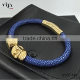 2016 New Arrival Twins Skull Blue Leather Bracelet With 18k Gold For Mens Watches Genuine Stingray Leather Skin