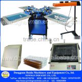 Floor type 4 color 4 workstation double rotary manual silk screen press with printing supplies