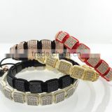 New Arrival Trendy Summer Style Mens Jewelry,Black Handmade Rope Chain 8mm Pave Seeting Black CZ square beads Macrame Bracelet