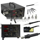 2in1 SMD Desoldering Soldering Rework Station Hot Air & Iron 852D+ 5Tips ESD PLCC BGA