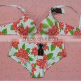 New Design Women Seamless Flower Print Bra& Boxer Brief Set