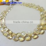 "Citrine Hand made 4.75 mm Faceted Heart shape, 6"" Strand length 100% Natural gemstones"