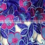 Guangdong supplier big flowers pattern geroge Korea silk lace fabrics with stones