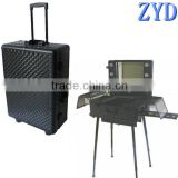 Diamond pattern lighted makeup train case, LED casing with trolley,aluminum makeup case with light