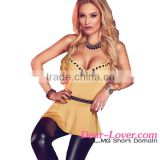 2016 cheap Khaki Charming V Neck Flare sexy girl night club wear