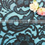 Black flowers cotton nylon lace fabric embroidery african voile lace cord lace fabric