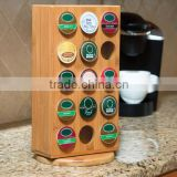 NEW Revolving Bamboo Coffee Pod storage Rectangular Bamboo Rotating 30 K-Cup Coffee capsules pot holder                                                                         Quality Choice