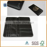 fashional genuine leather card holder/leather cheque holder /leather passport holder with stamped logo