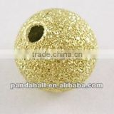 Sparkle Metal Stardust Beads, Brushed Round, Golden Color, 8mm, hole: 1.5mm (EC225-G)