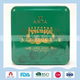 Small green pressed powder tin box for lady cosmetic