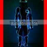 LED cosplay robot costume, Programmed fiber optic tron dance costume with hat
