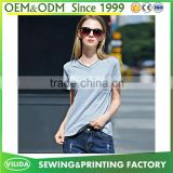New design women's V Neck Blank T Shirt Ladies100% Cotton Soft Extile Plain Tee Shirt