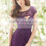 Hot A-line Purple Backless Short Sleeves Long Lace Bridesmaid Dress Maid Of Honor Dress ZY536