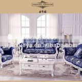 cherry country style furniture , white blue velvet sofa set , wood carved living room sofa