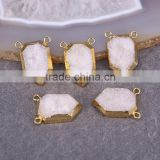 Natural White Quartz Stone Druzy Beads, with Double Bails Gold plated Crystal Drusy Gemstone Pendant, For Jewelry Making