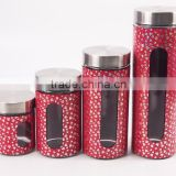 4 pcs set red round glass jar with stainless steel lid