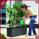 Large size rectangular UV-resistant resin wicker flower planter manual vegetable seed planter