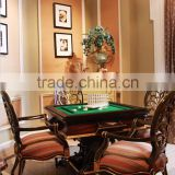 Retro Classic French Handcrafted Multifunctional Convertible Wood Dining and Mahjong Table with Carving Armchair BF12-03284a