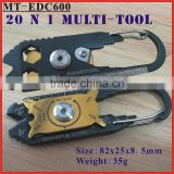 (MT-EDC600) 20 IN 1 Multi EDC Pocket Carabiner Key Knife Wrench Screwdriver Bottle Opener Outdoor Tool