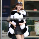 CN-R-4 2016 top sell real whole skin fur gilet genuine natural fox fur vest women