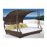 Anti UV Rattan Sunbeds Outdoor Double Chaise Lounge for Villa
