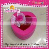 Heart shaped pink color velvet jewelry boxes with cute bow