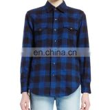 OEM Durable Fashion Clothes Plaid Stretch Cotton Blouse Spread Collar Shirt Long Sleeve Button Down Top