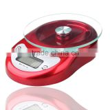 Kitchen Scale, Fashion Digital Kitchen Food Scale with Glass Clean Surface, 5kg X 1g, Red