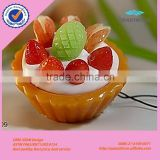 Promotion custom cute simulation fruit cake hanging ornament for keychain bag and cellphone