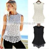 "Instyles <span class=""wholesale_product""></span> 5594 Women Blouse Spring Summer Lace Tops Sleeveless Black Wh Clothing"