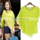 Instyles IRREGULAR FALBALA SLEEVE BATWING LADIES CHIFFON BLOUSE SUMMER boutique clothing Clothing