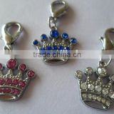 Made in China wholesale colorful rhinestone crown charm pendant