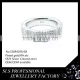 Cheap wedding ring white gold plated with lucky stone in Bangkok wededing rings