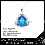 Popular women's style 925 silver pendant in Sky Blue gemstones/Glass pendant micro pave silver and cz jewellery pendant