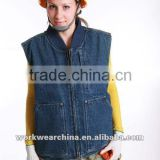 100% Cotton Jean Fabric polar fleece padded blue jean vest