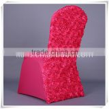 Spandex Chair Cover with 3D Satin Rosette Back/rosette cover for chair/fancy lycra flower rosette chair cover