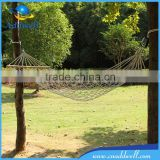 Outdoor cotton rope hammock with wood bar