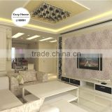 on sale embossed pvc coated wallpaper, curry yellow classic damask wall covering for home , decoration wall decal roll