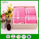Gradient embroidery smile face bath gift towel sets,luxury bath towel set embroidery towel