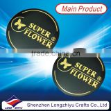 Metal round golden logo nameplate die cut label emblem badge plate with 3M adhesive back for products