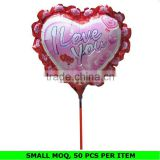 Hot Sale Custom Heart Shape Mini Stick Foil Balloons