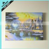 Alibaba express new product Scene oil painting gift canvas picture with led light light up led canvas painting